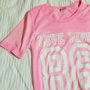 Victoria's Secret Pink Hot Pink Football Tshirt